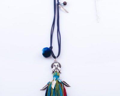 Woman Necklace, Buda & Pompom