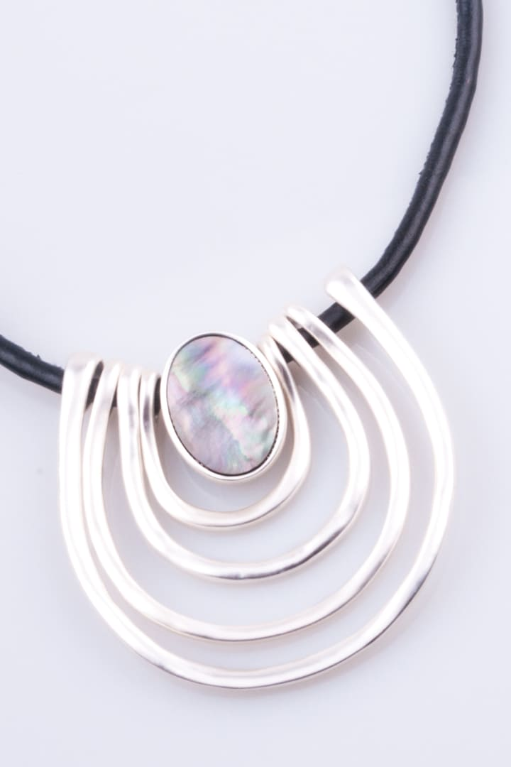 Abalone & Leather Silver