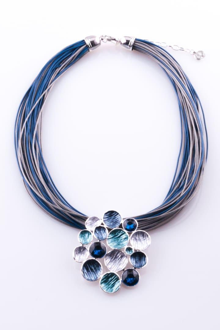 Colar de Mulher Metal Abstrato Azul