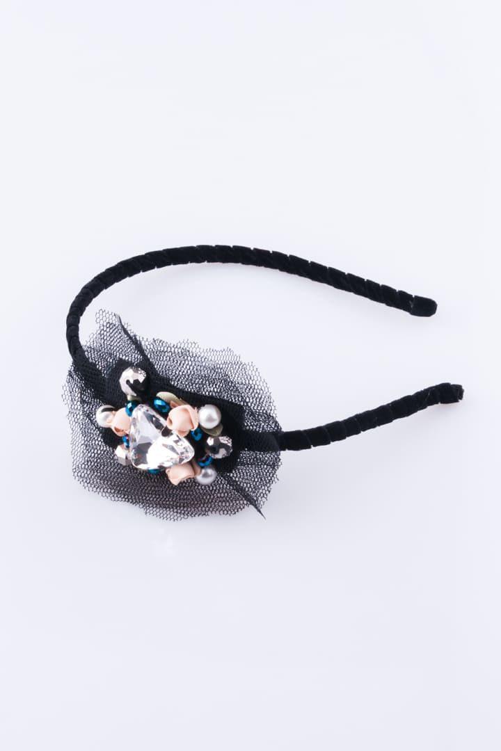 Acessorio de Cabelo de Mulher Bandolete Laço & Cristal Preto