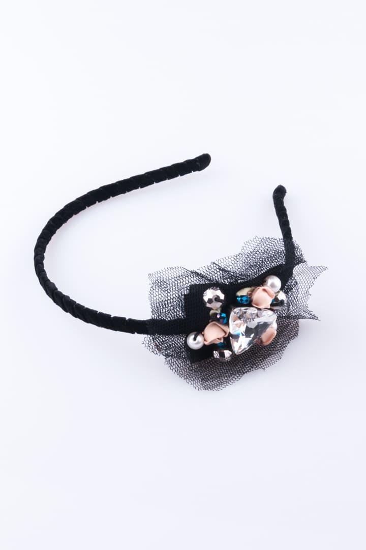 Hair Band Lace & Crystal Black