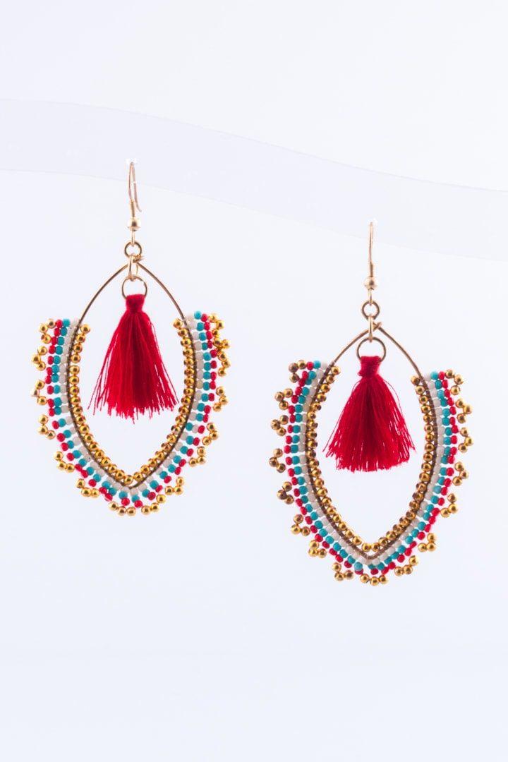 Brinco de Mulher Bombai Vermelho