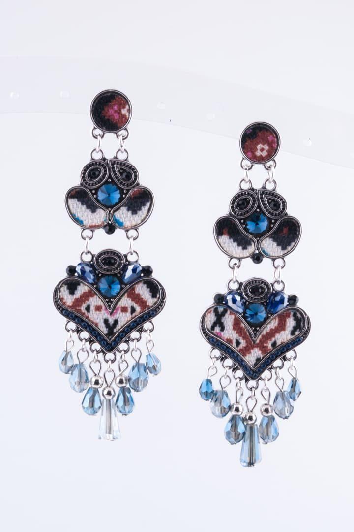 Brinco de Mulher Padrão Asteca Coração Branco
