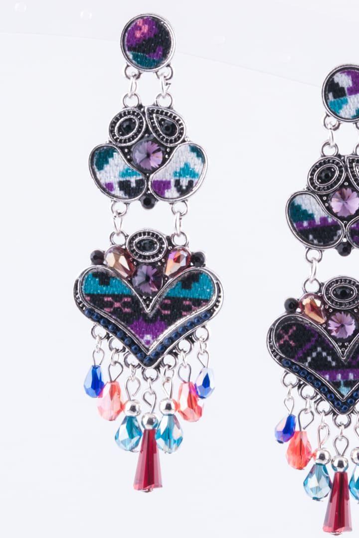 Brinco de Mulher Padrão Asteca Coração