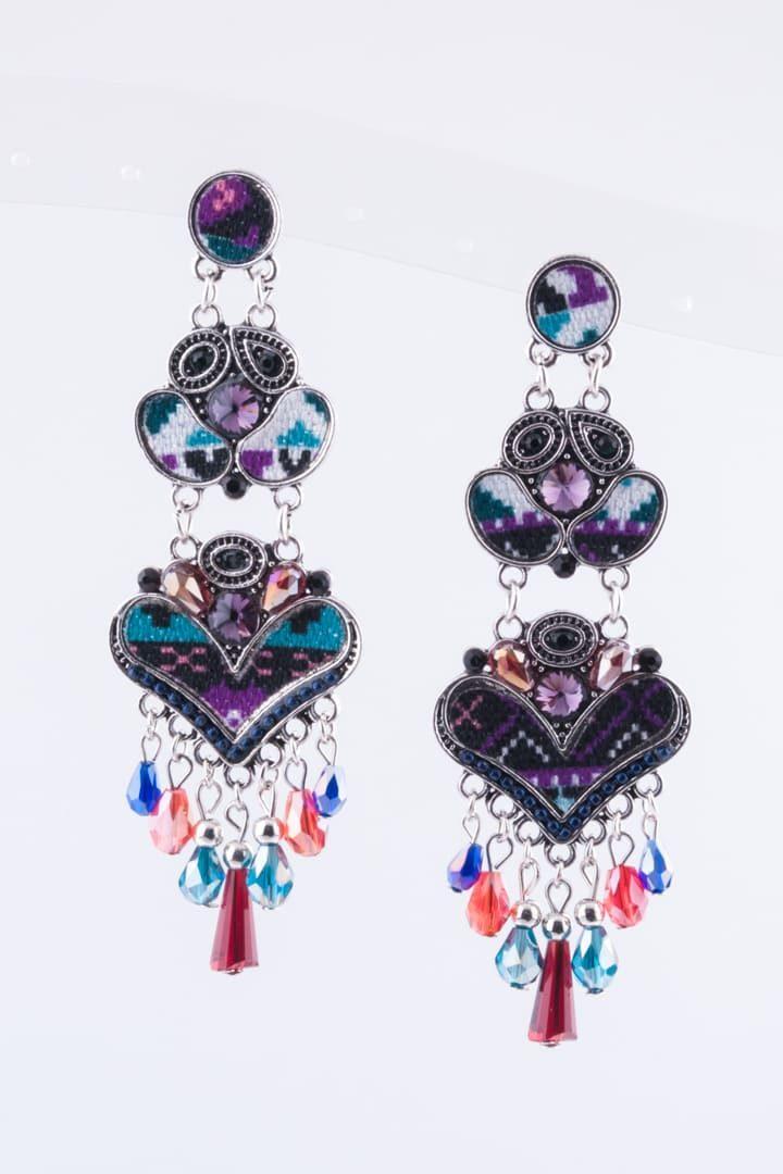 Brinco de Mulher Padrão Asteca Coração Roxo