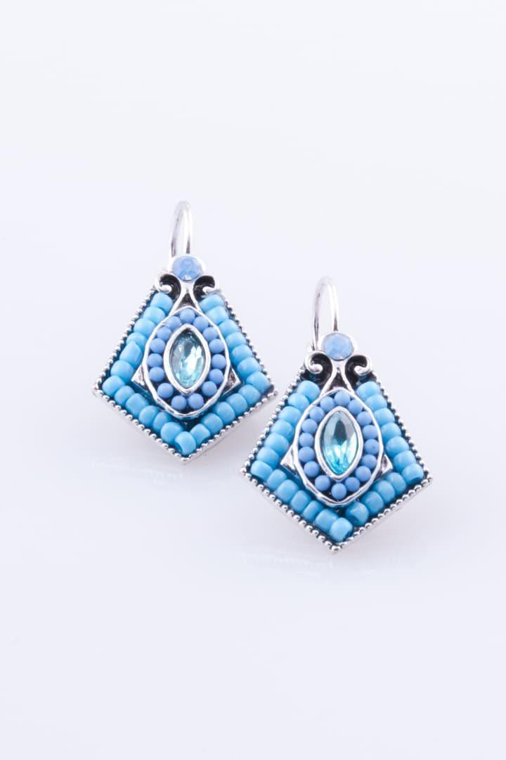 Brinco de Mulher Clip Losango Azul