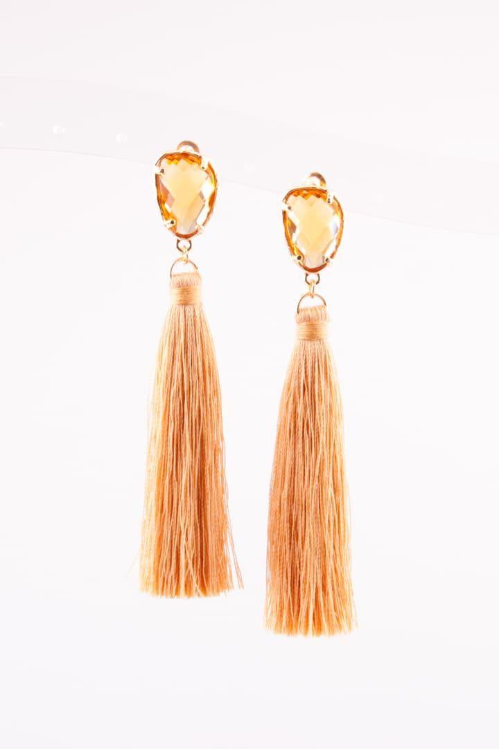 Brinco de Mulher Tassel & Cristal Amarelo