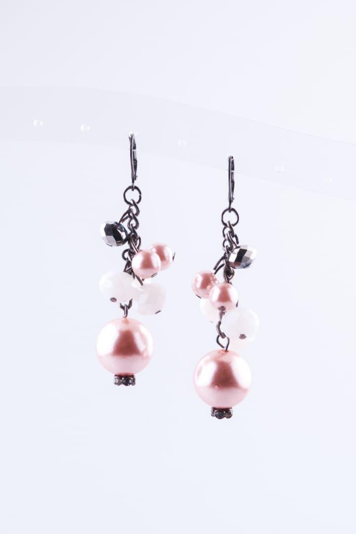 Brinco de Mulher Perola & Cristal Rosa