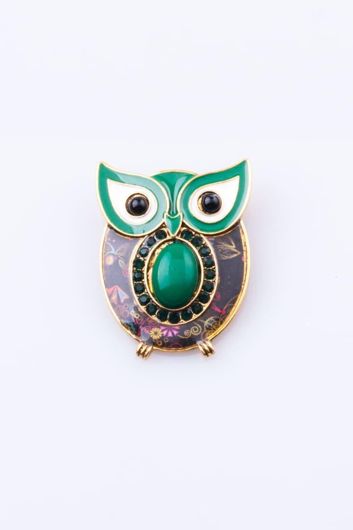 Pregadeira de Mulher Coruja Olhos de Gato Verde