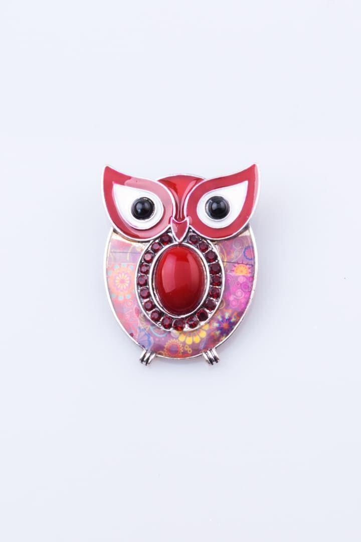 Pregadeira de Mulher Coruja Olhos de Gato Vermelho