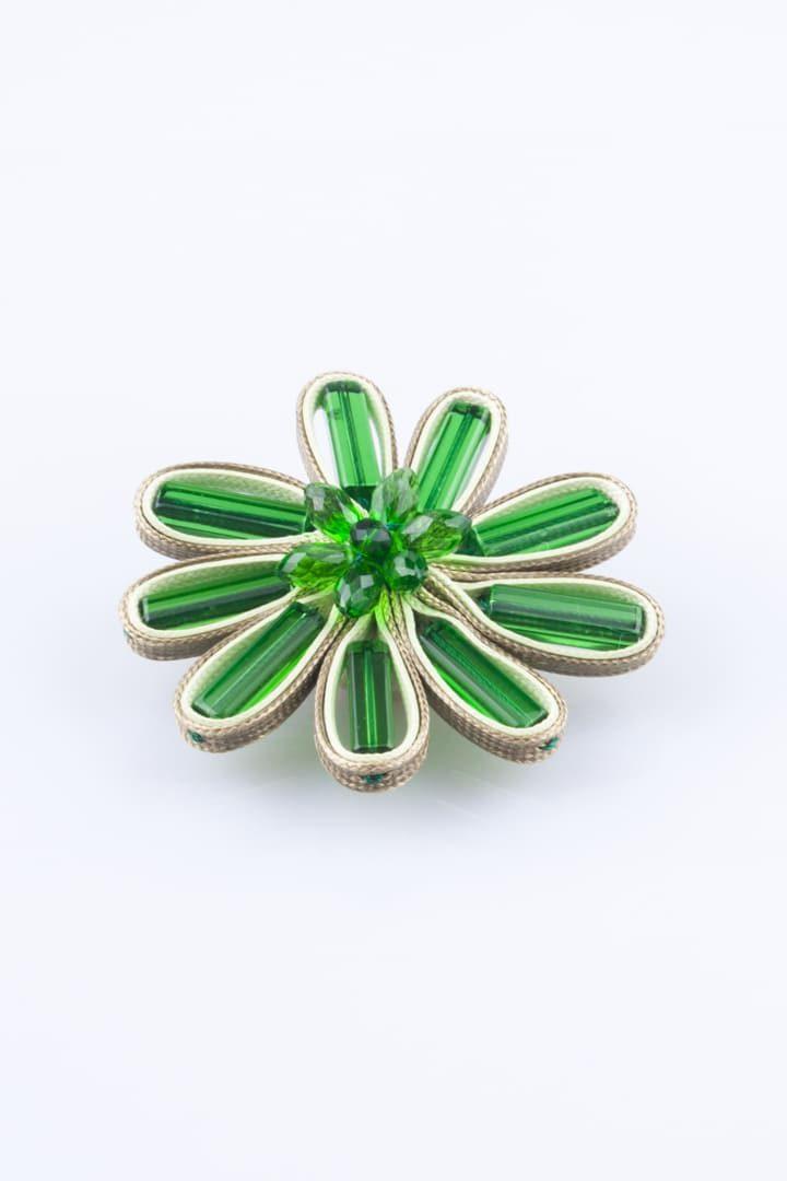 Pregadeira de Mulher Flor de Vidro Verde