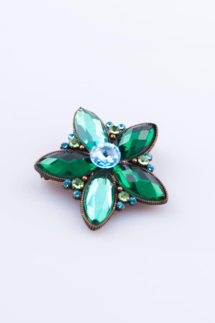Pregadeira de Mulher Flor de Cristal 5 Petalas Verde