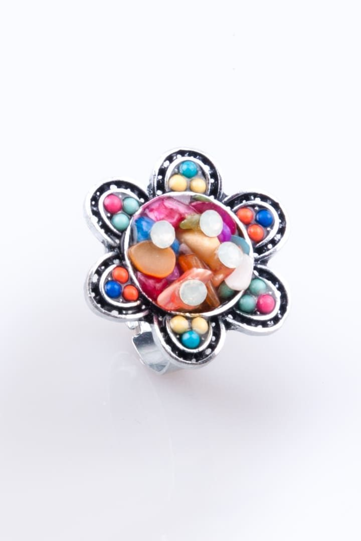 Anel de Mulher Flor de Pedras Colorido
