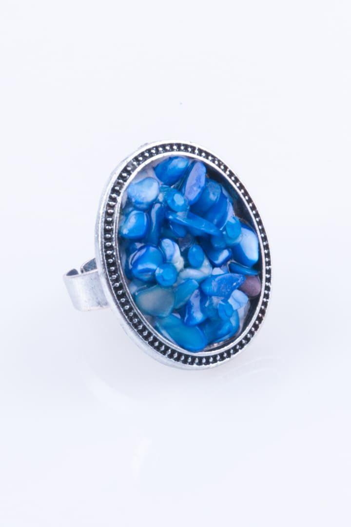 Anel de Mulher Flor de Pedra Oval Azul