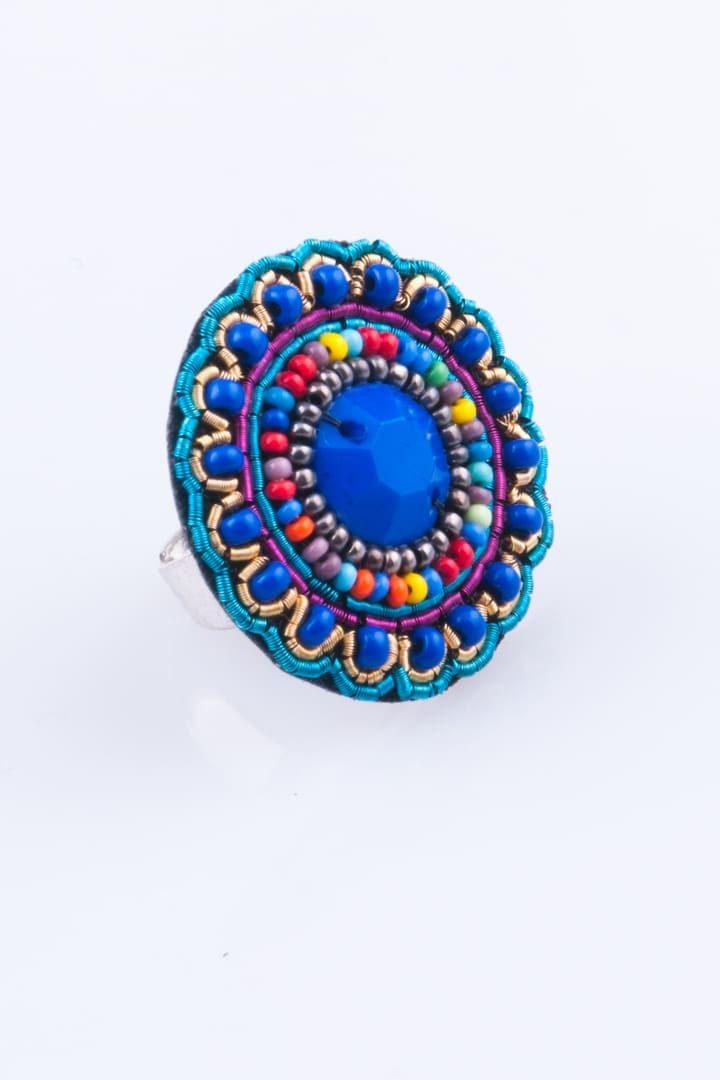 Anel de Mulher Mandala Chic Empredado Azul