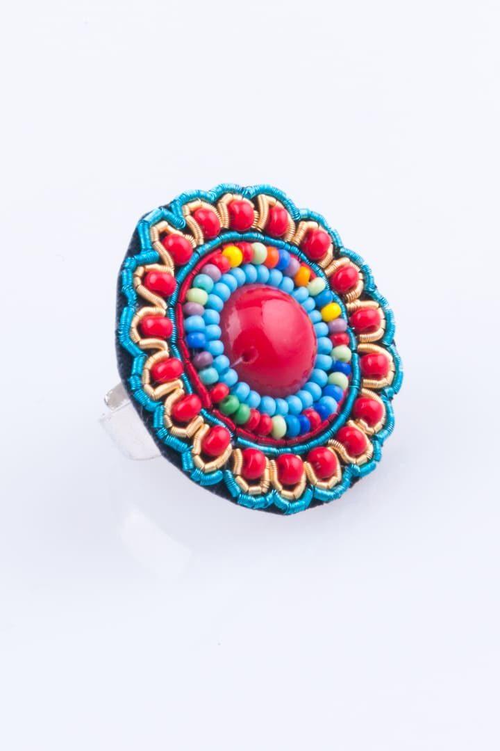 Anel de Mulher Mandala Chic Empredado Vermelho