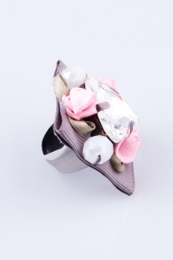 Anel de Mulher Flowers & Diamonds Cinza