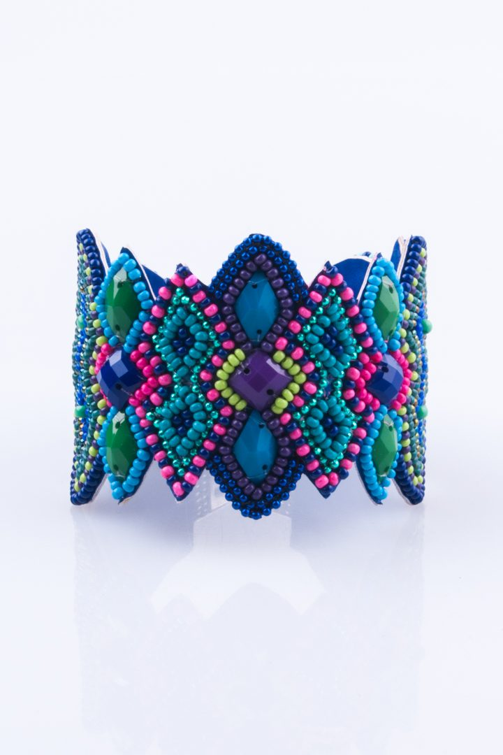 Pulseira de Mulher Bracelete Cabochon Geometrico Azul