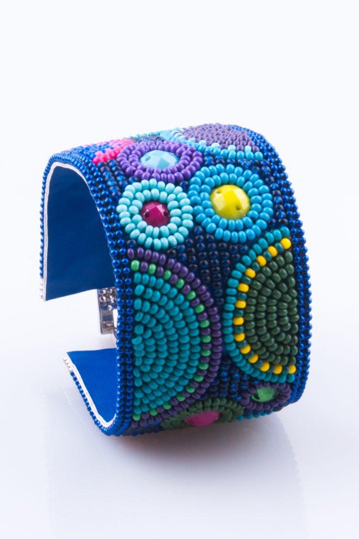Pulseira de Mulher Bracelete Cabochon Planetas Azul