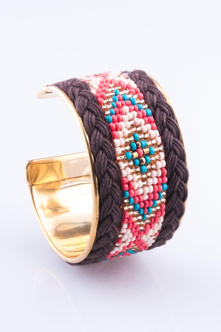 Pulseira de Mulher Bracelete Fio Trançado Castanho