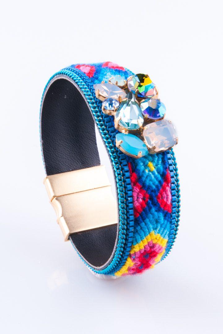 Pulseira de Mulher Bordado & Cristal Azul
