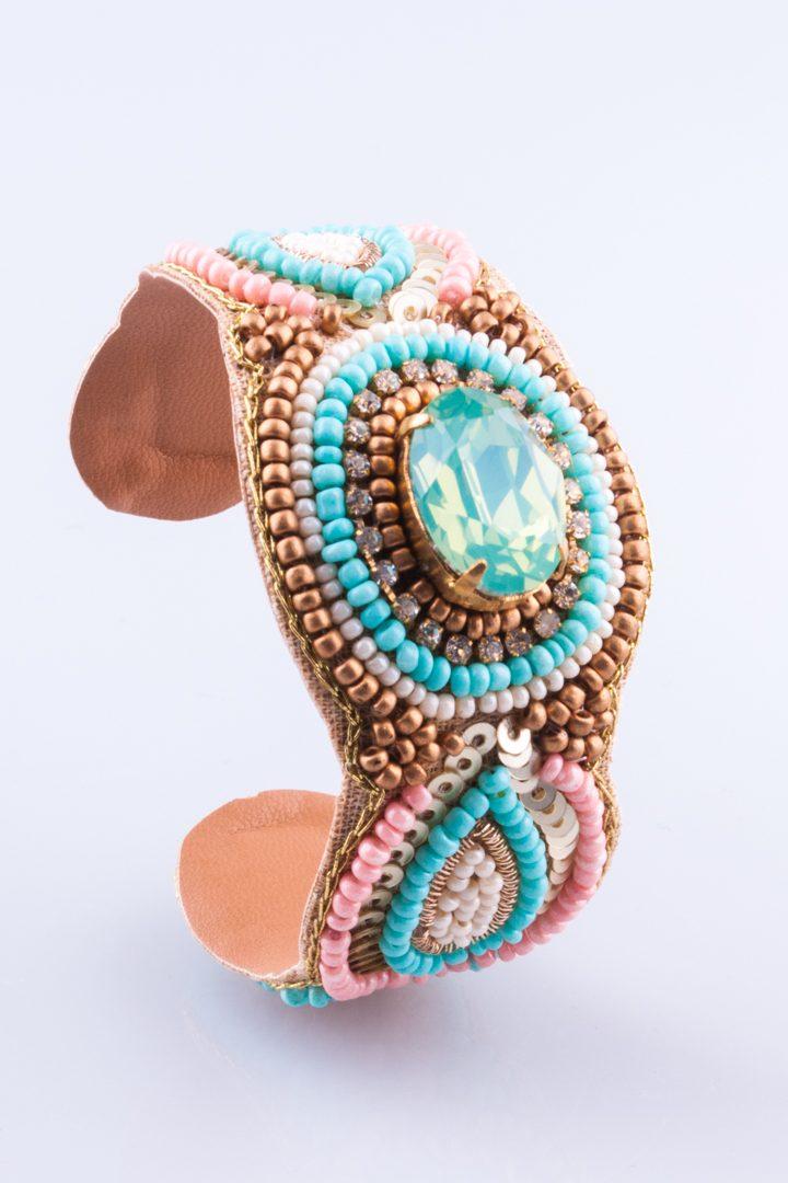 Pulseira de Mulher Bracelete Olho de Cristal Castanho